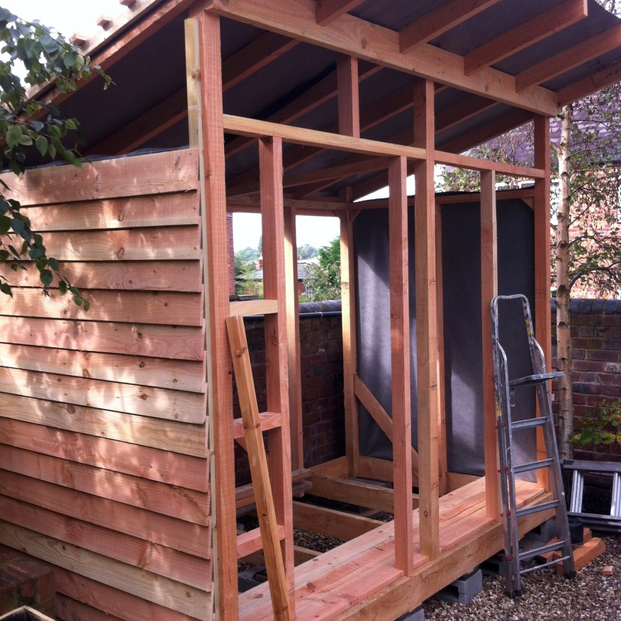 Building the new shed to free up the workshop - 2013.