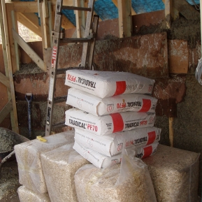 Bags of hemp and lime ready for wall construction