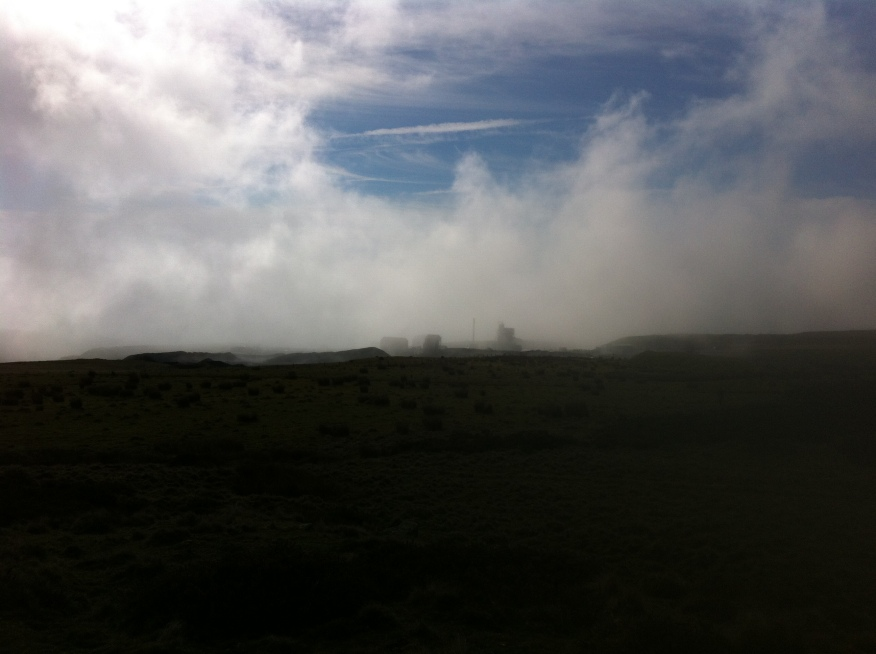Temperature inversion - looking down over the quarry towards Tenbury Wells