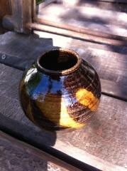 Beach clay glaze with copper glaze splashes
