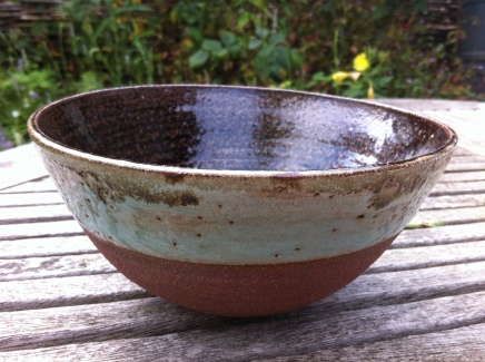 Clee Hill bowl with Clee Hill 33% glaze made of local materials and a turquoise copper glaze.....