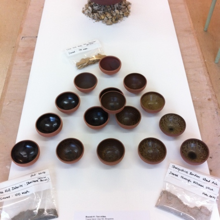Triaxial blend tests of Clee Hill based glazes (dhustone, clay and wood ash)