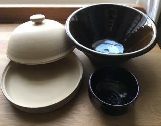 Baking set; baking crock, pancheon and bowl for setting leaven