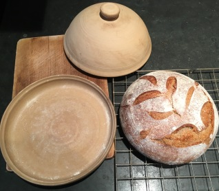 Baking crock and sourdough loaf