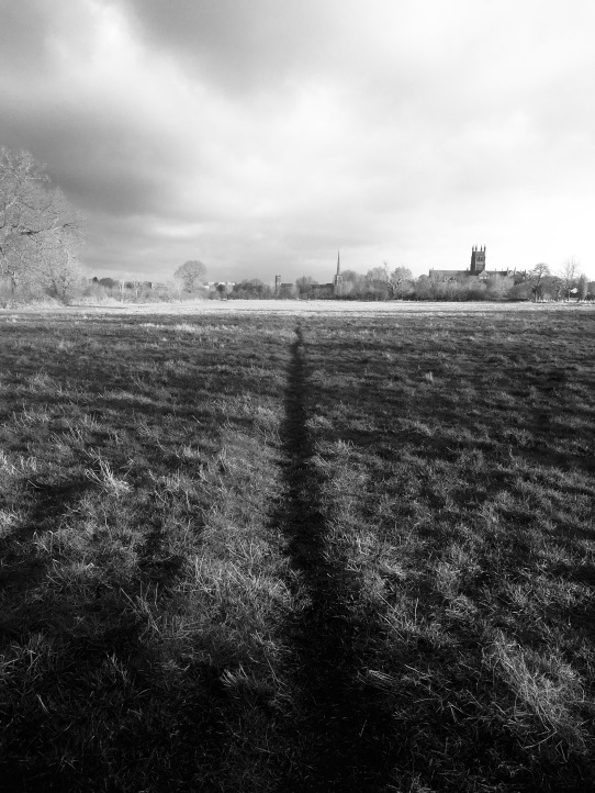 Path and view to Worcester from Chapter Meadows
