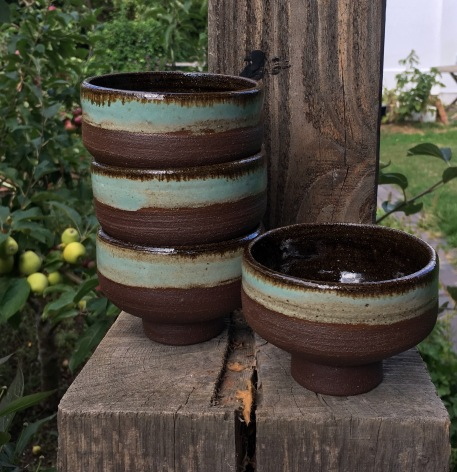 Tea bowls of hand dug Pembrokeshire clay