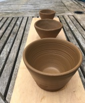 Test tumblers and thumb pot crogan, Octomore clay