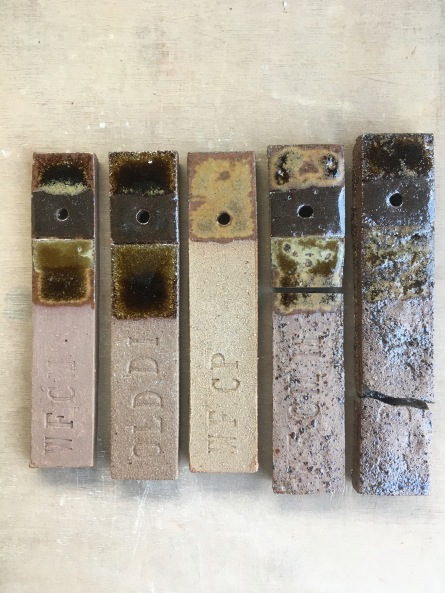 Stoneware glaze experiments on local Pennine Coal Measures clays